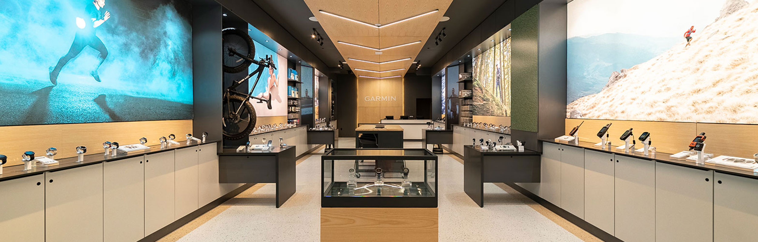 The interior of the Garmin retail store in Miami, including display cases and signage