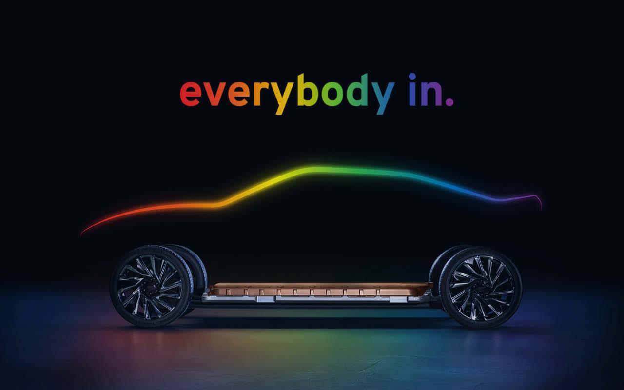 """GM's """"everybody in"""" ultium platform in pride rainbow colors."""