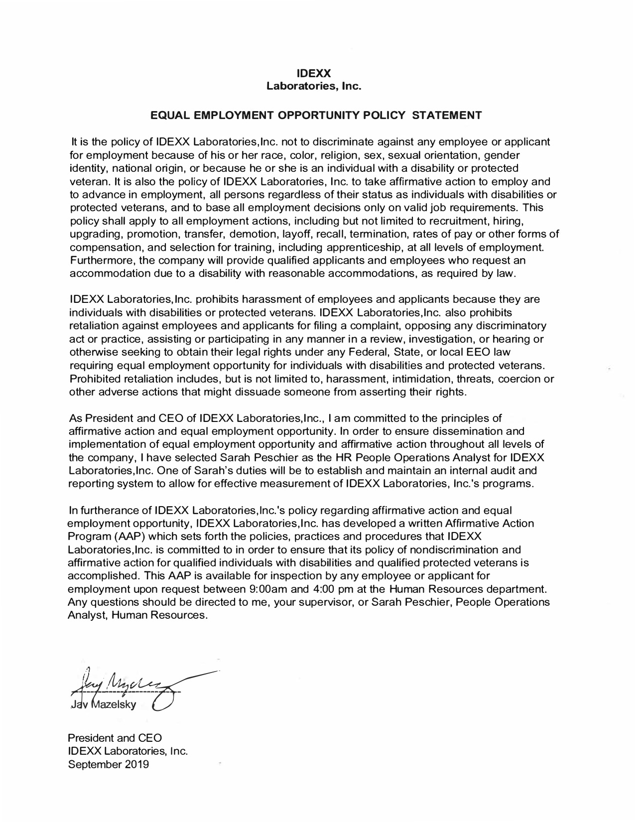 EEO statement - JM