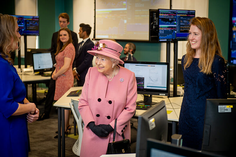 Her Majesty The Queen visits the real-time trading floor in the King's Business School