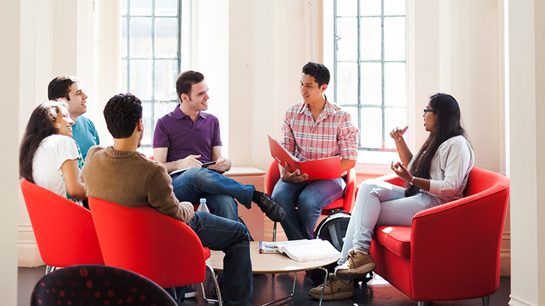 Students discussing business