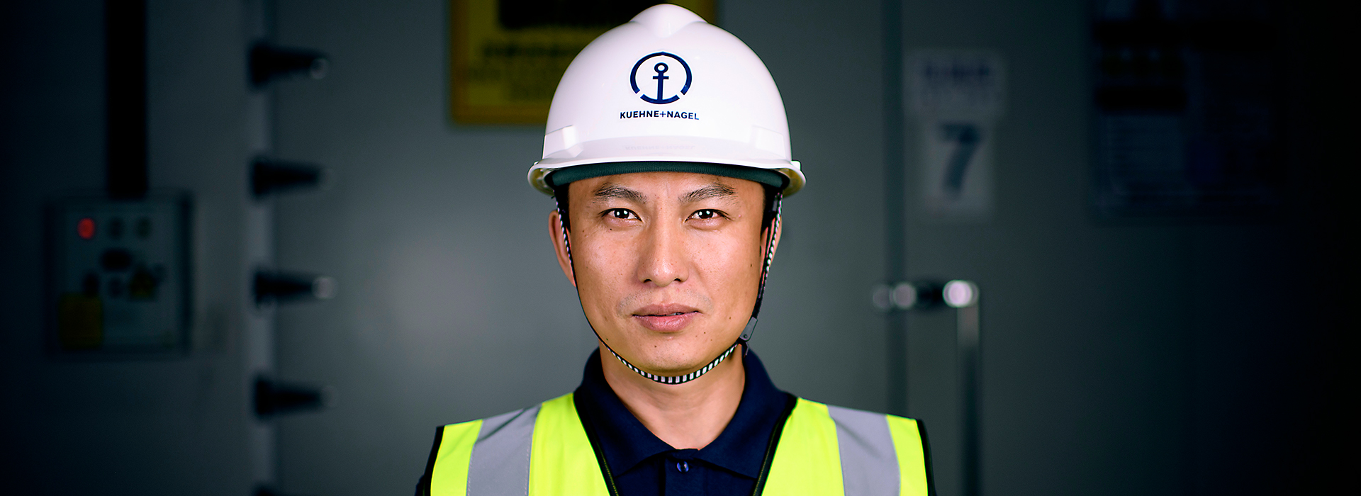 A worker with a helmet