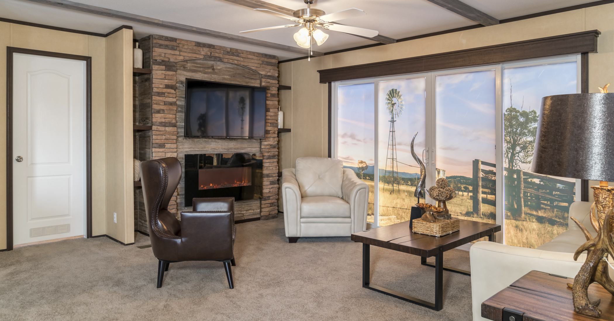 picture of a home interior living room and fire place