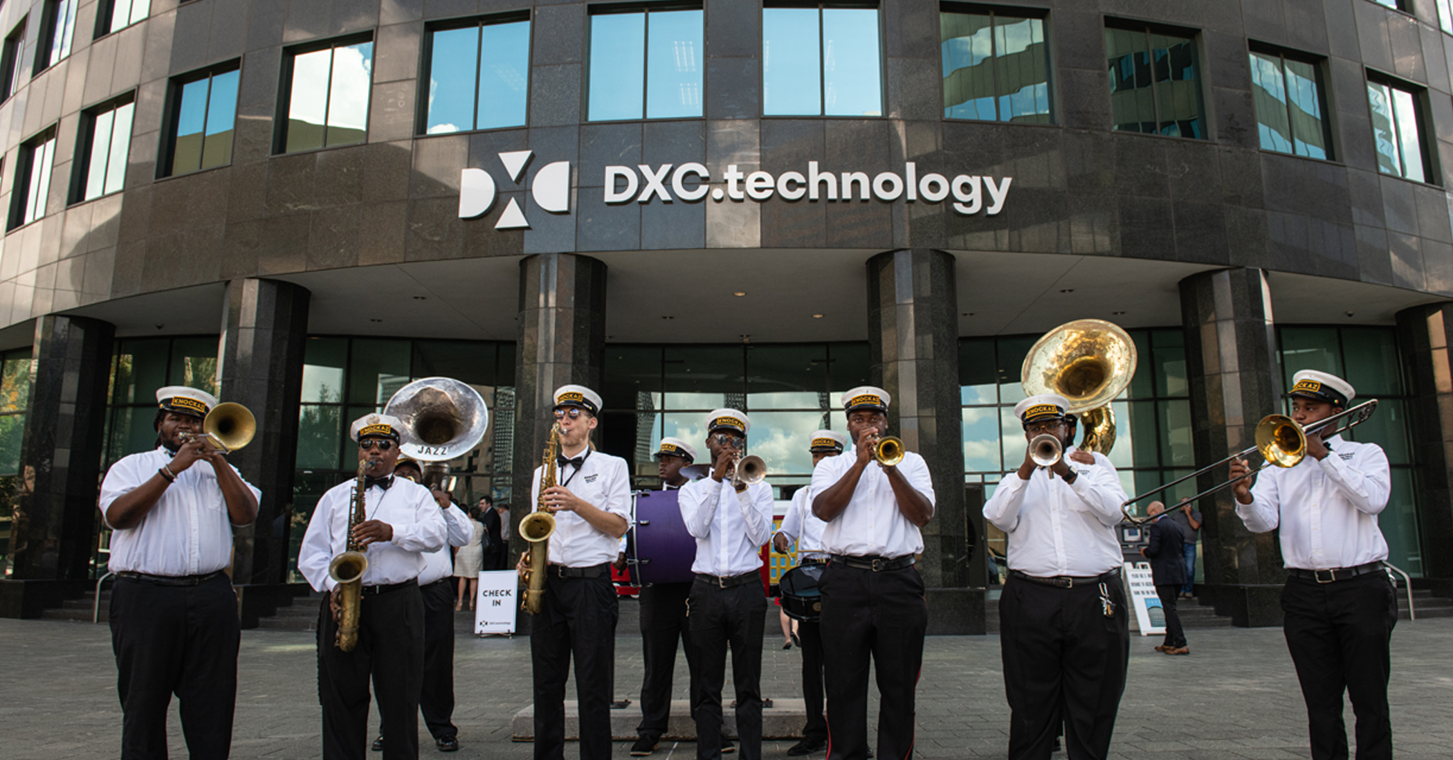 Jazz band playing music outside of DXC technology