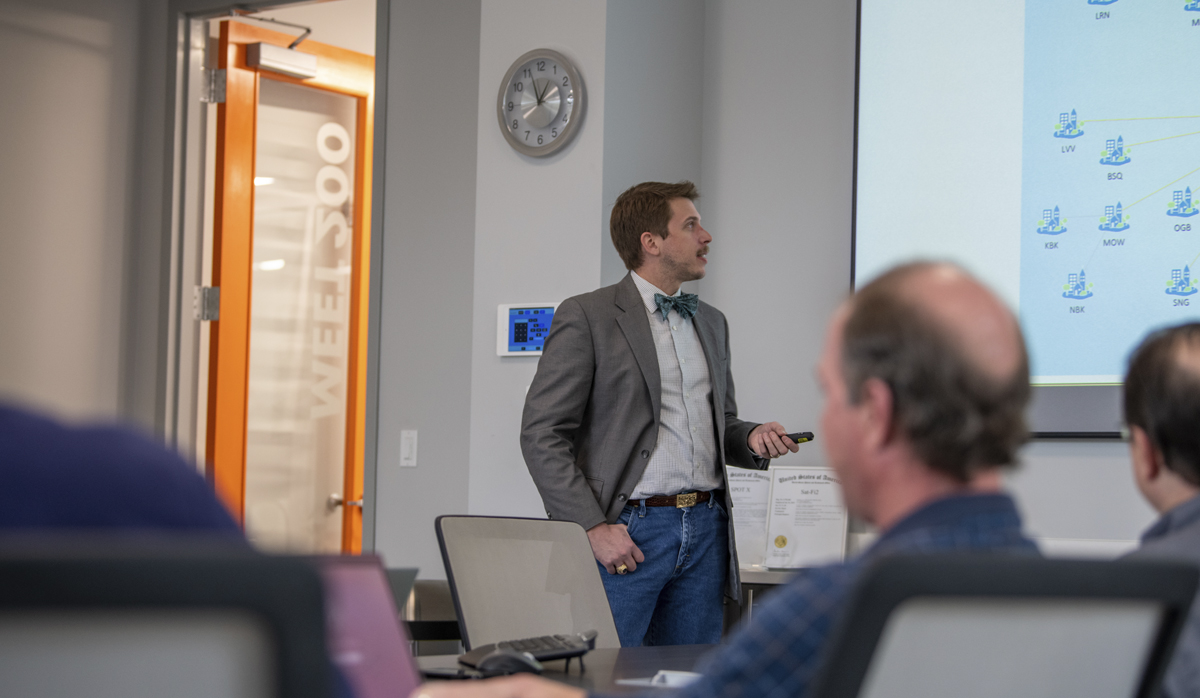picture of a presentation in a conference room