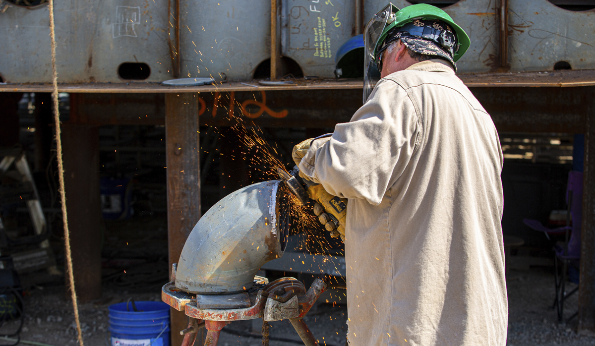 Gulf Island Fabricator grinding metal