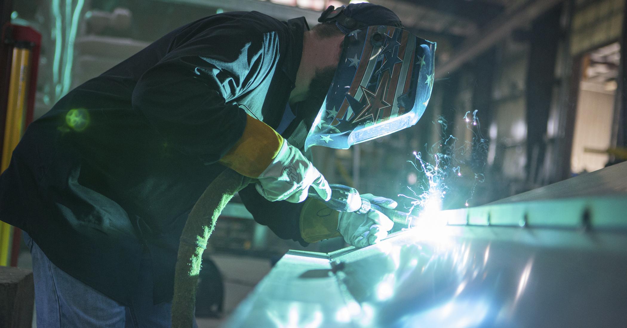 Metal Shark Boat being welded