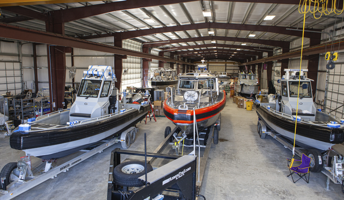 Metal Shark Boats sitting in a warehouse