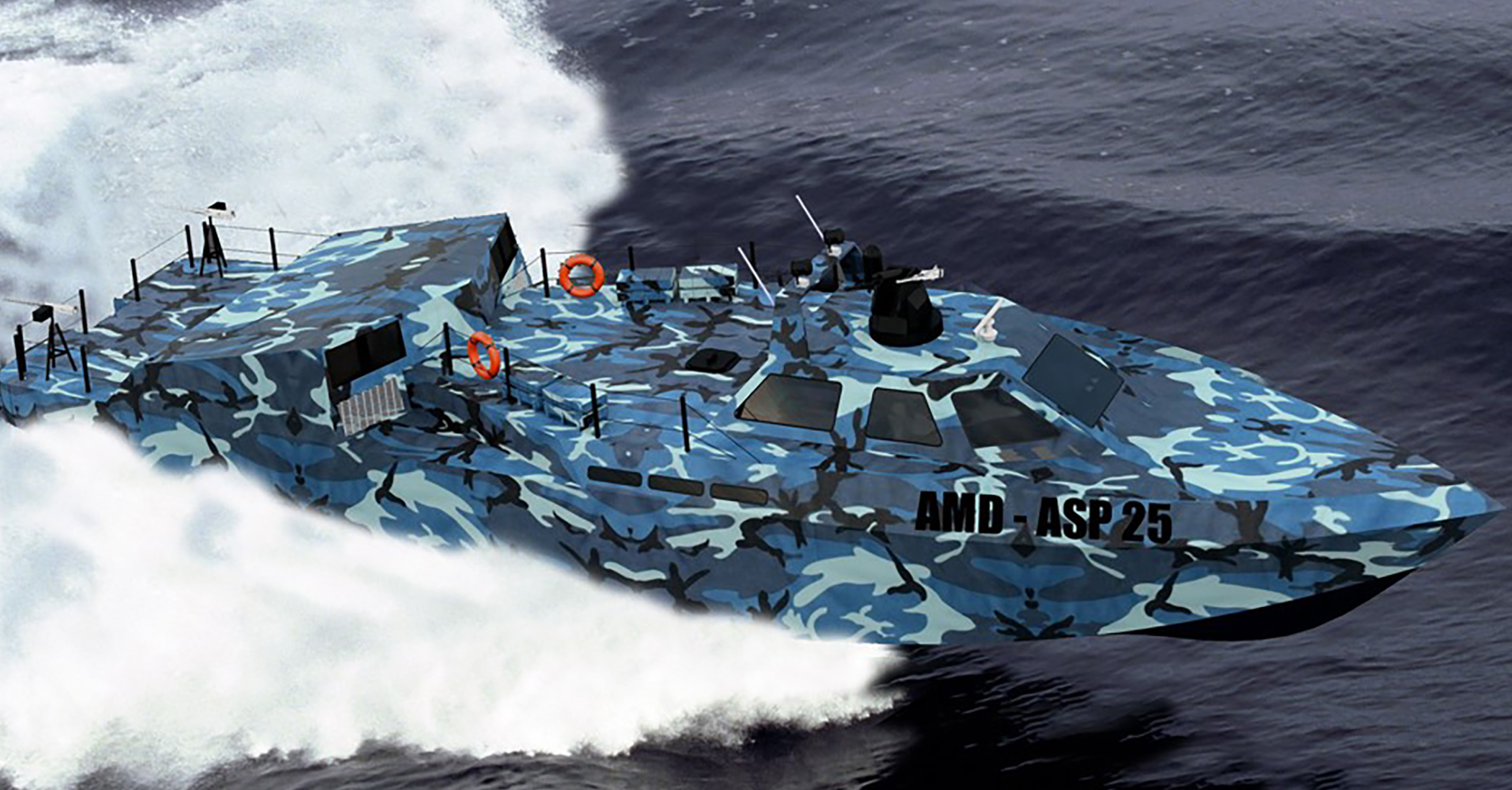 Blue camouflaged boat speeding over water