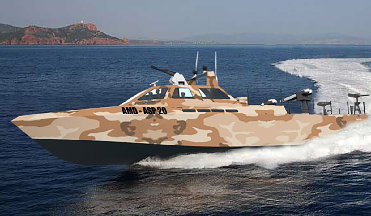 Brown and tan camouflaged boat speeding across water
