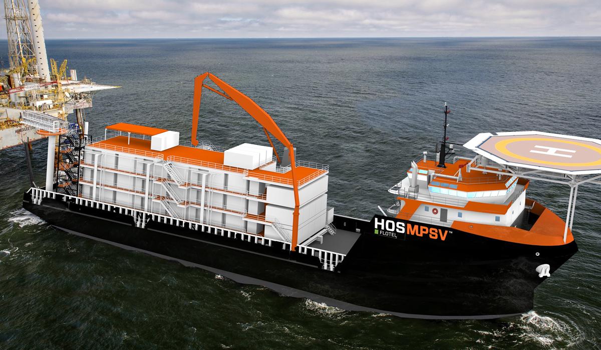 Ship docked at oil rig