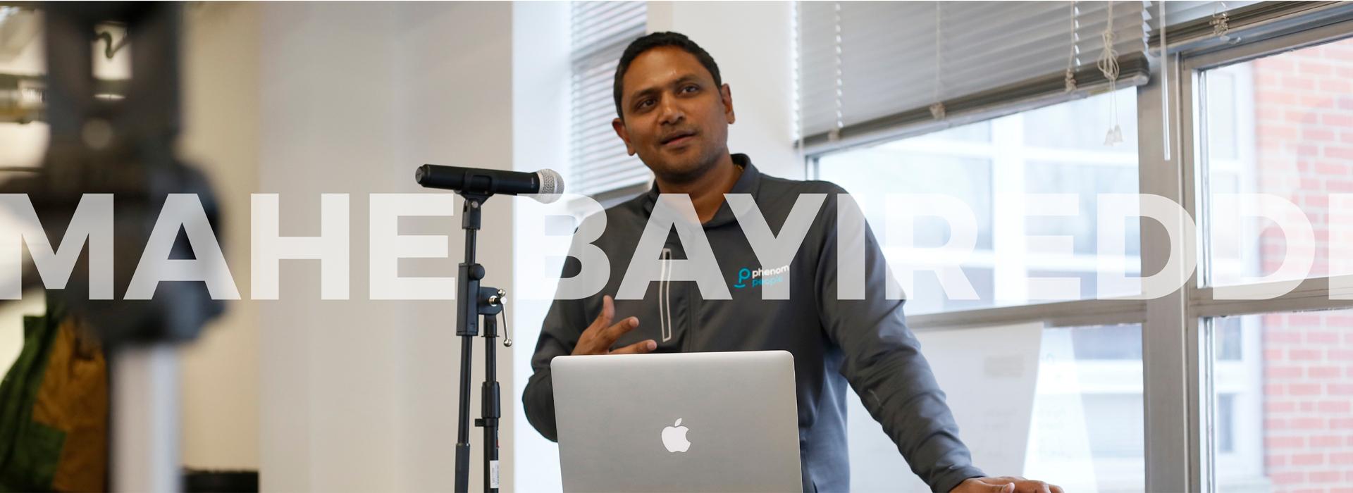 CEO, Mahe bayireddi giving speech