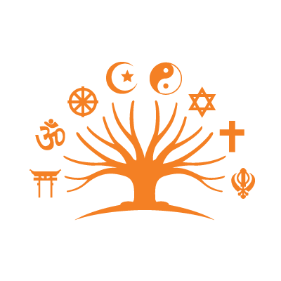 graphic of tree with various religious symbols around it