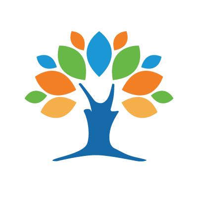 graphic image of a tree with a blue trunk and orange, green, blue and yellow leaves