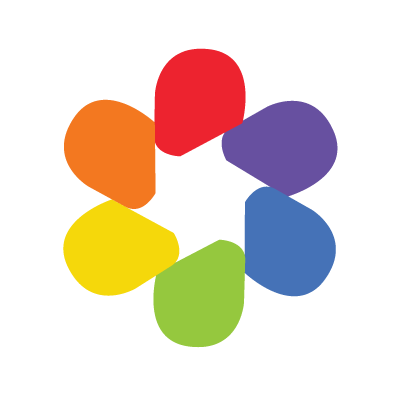 Graphic image of shapes in the colors of the rainbow to form a circular shape like a flower