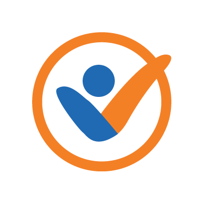 graphic image of an orange circle with a check mark in orange and blue over it