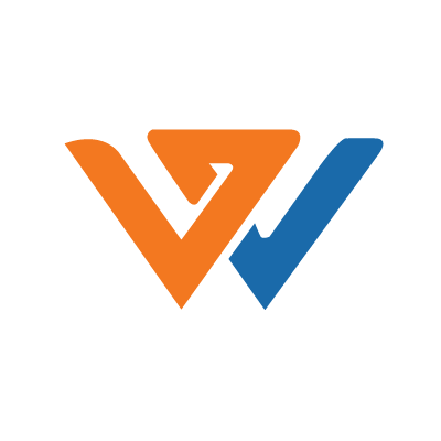 graphic of an orange and blue letter W