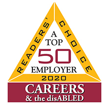 Top 50 Employers, CAREERS & the disABLED Magazine 2020 badge