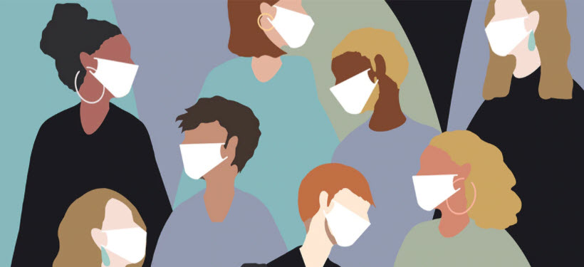 a graphic of people wearing masks