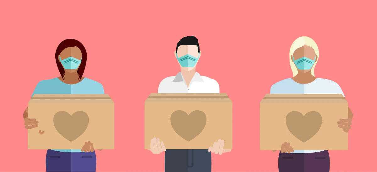 Cartoon Graphic of three people wearing masks holding boxes