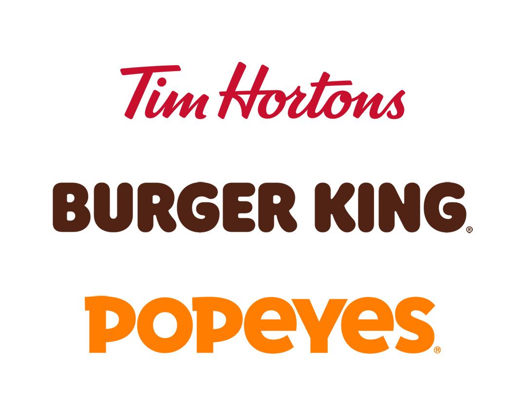Tim Hortons, Burger King, Popeyes logos