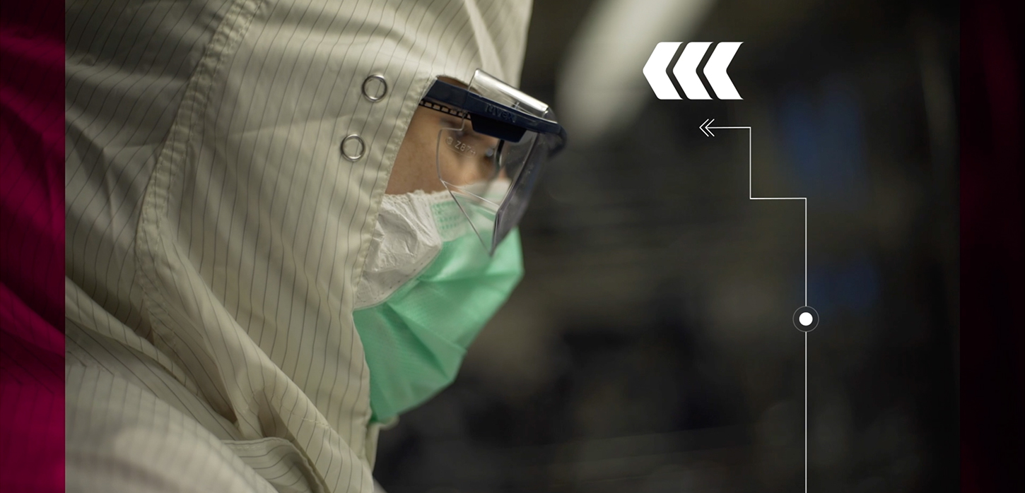 Researcher in protective equipment