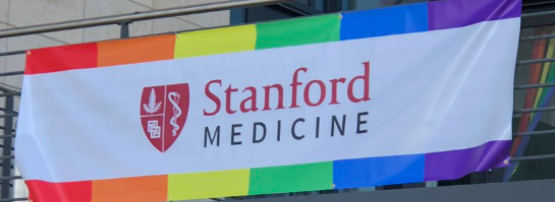 Text 'Stanford Medicine' between narrow banners of red, orange, yellow, green, blue, and purple