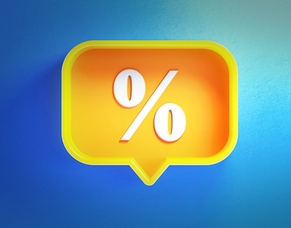 image of a speech Bubble Shaped Yellow Button with Percentage Sign on Blue Background