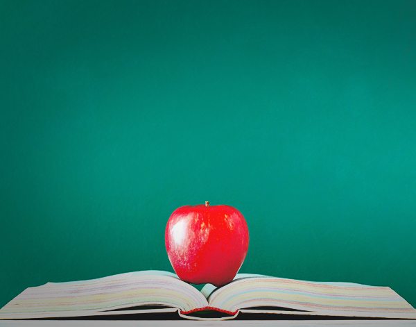 image of a red apple on top of an open book in front of the green blackboard background