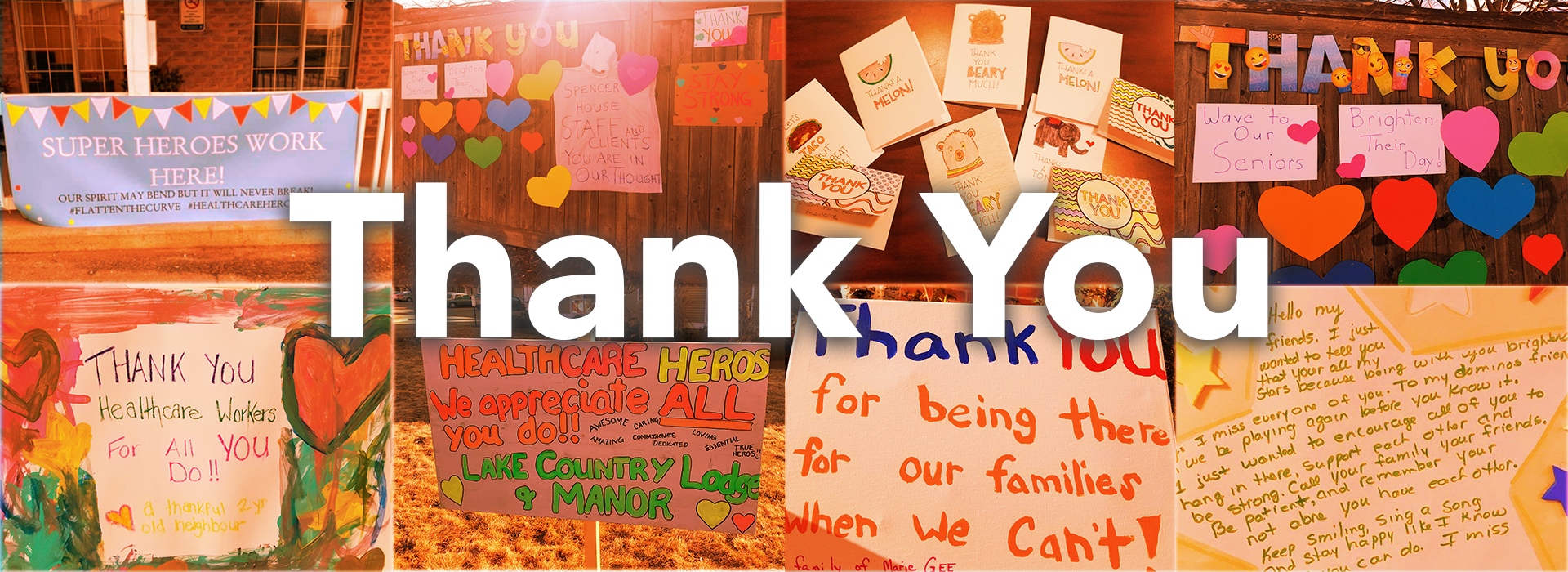 a collage of all the thank you messages for the team members