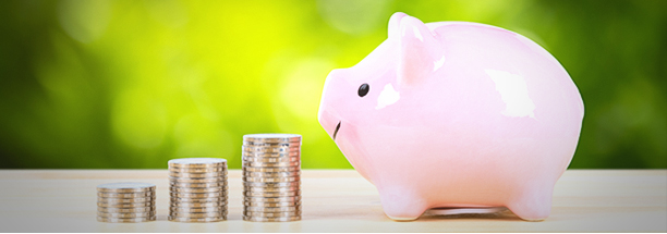 image of a pink piggy bank with coin stack steps with sunlight ray on green tree background, with hand inserting money