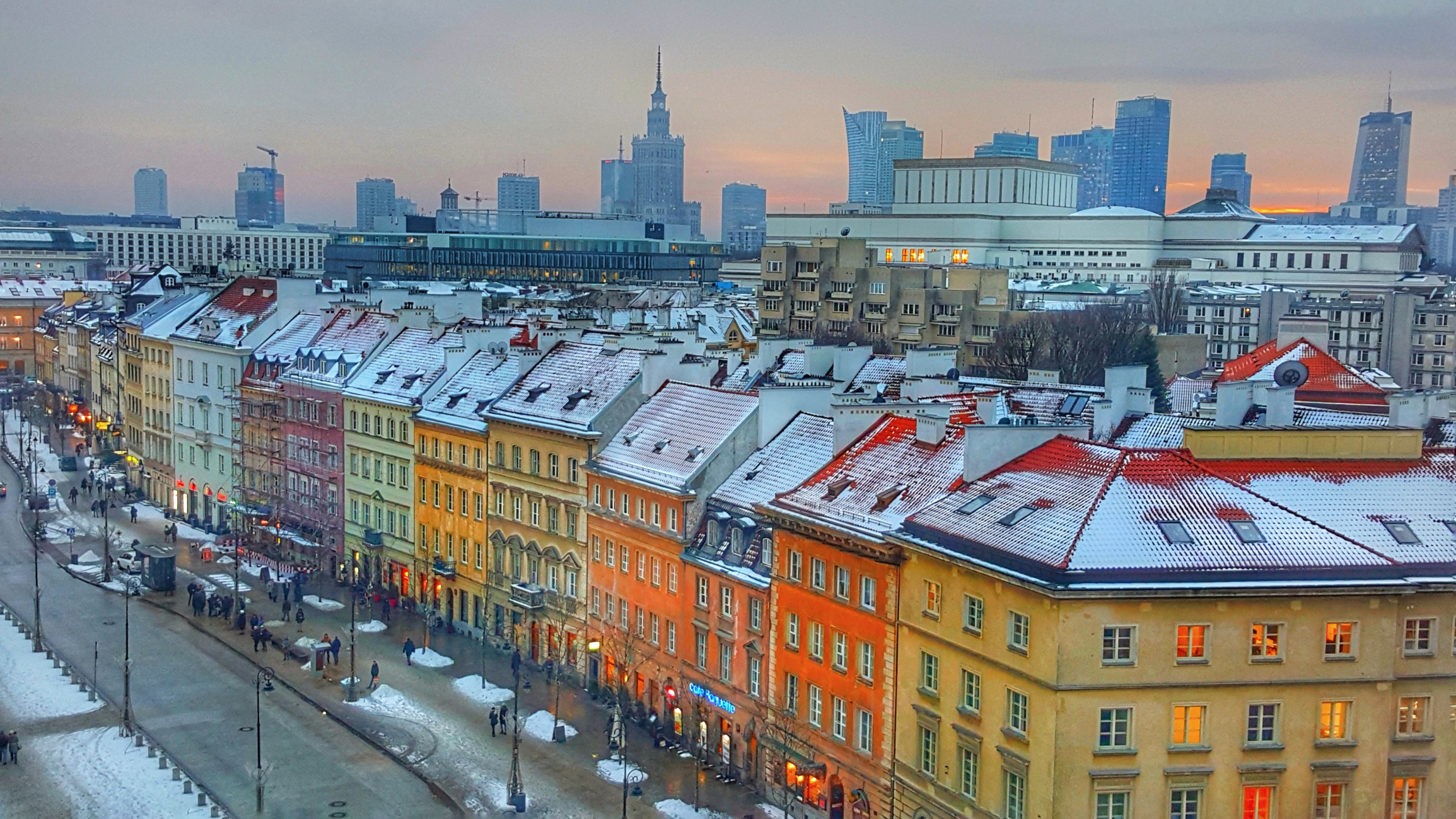 Snowing in Warsaw, Poland