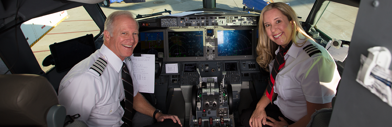 Southwest Pilots sit in the cockpit