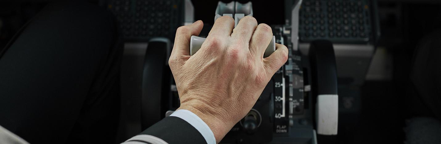 A Pilot flies an airplane
