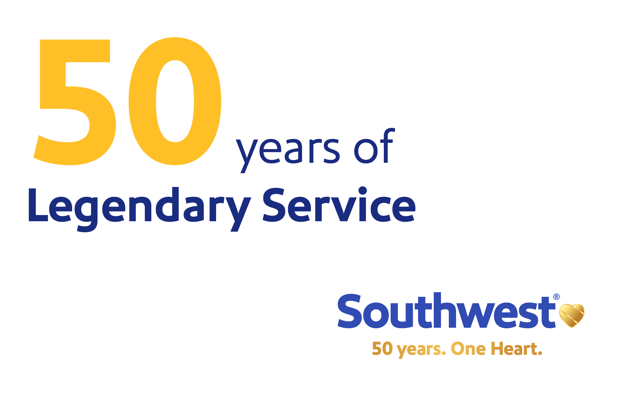 """Image that reads, """"50 years of Legendary Service"""""""