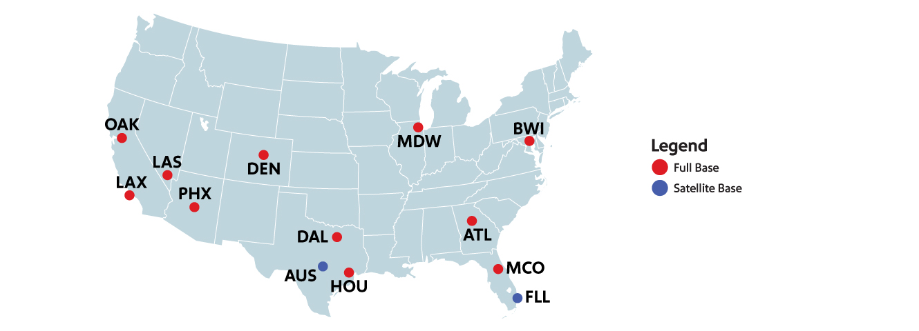 Image that displays a map of the United States with the 11 Inflight Bases marked: Oakland, Chicago, Baltimore, Dallas, Houston, Denver, Las Vegas, Orlando, Phoenix, Atlanta, and Los Angeles with Satellite bases in Fort Lauderdale and Austin