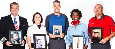 Five Employees hold pictures of their images from the military