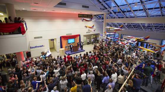 Southwest Employees gather in the lobby for a celebration
