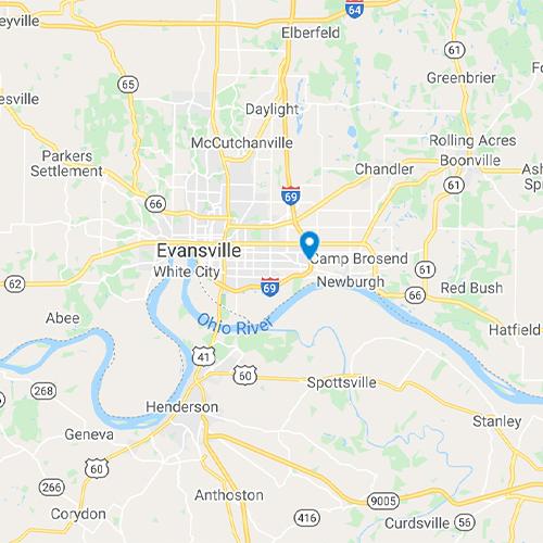 Map of Evansville, IN