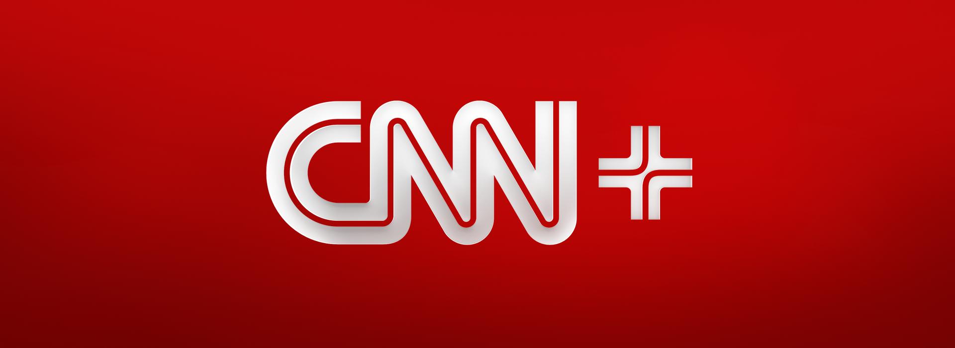 CNN+ Logo against red gradient background